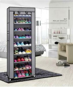 10 Layer 9 Grid Shoe Rack Shelf Storage Dustproof Cover Orga