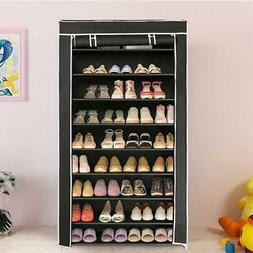 10 Tier Shoe Tower Rack With Fabric Cover 27 Pair Space Savi