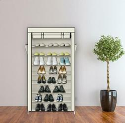 10 Tiers Shoe Rack with Dustproof Cover Closet Shoe Storage
