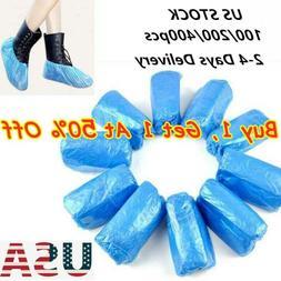 100/200/400 PCS Plastic Waterproof Shoe Covers Blue Overshoe