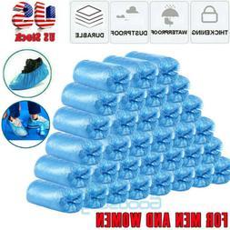 100-300 Disposable Shoe Covers Plastic Overshoes Blue Floor