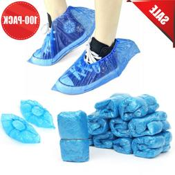 100 Disposable BLUE PVC Plastic Over Shoes Shoe Boot Covers