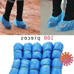 100 Pcs Waterproof Disposable Plastic Shoe Covers Non-Slip O