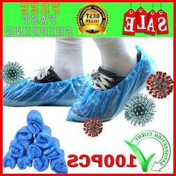 100Pcs Disposable Plastic Thick Shoe Cover Blue waterproof a