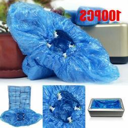 100* Disposable Boot Shoe Cover Blue AntiSlip Overshoes  Pla