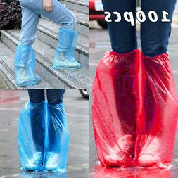 50 Pairs Disposable Rain Shoe Covers Waterproof Plastic Thic