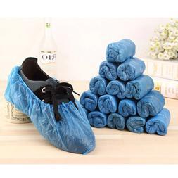 100PCs Shoe Covers Plastic Waterproof Disposable Blue Shoe C