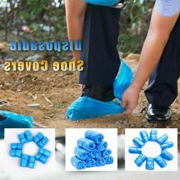 300Pcs Plastic Waterproof Disposable Shoe Covers Blue Shoe C