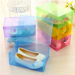 5 x Transparent Clear Plastic Shoe Storage Organiser Foldabl
