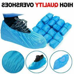 50pcs disposable shoe covers plastic overshoes blue
