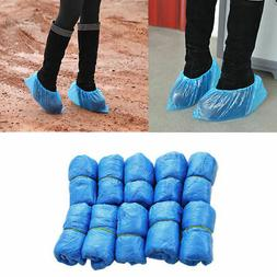 50x Waterproof Overshoes Plastic Blue Bulk Boot Shoe Cover D