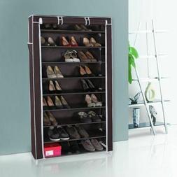 Dark Brown 10 Tier Shoes Organizer 45 Pair Storage Rack Dust