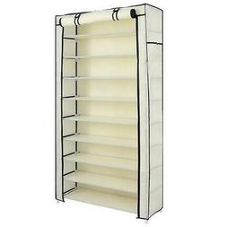 Durable 10 Tier Shoe Rack Dustproof Cover Closet Shoe Storag