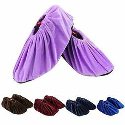 JUMLEE 5 Pairs Shoe Covers Non Slip Washable Reusable Cotton