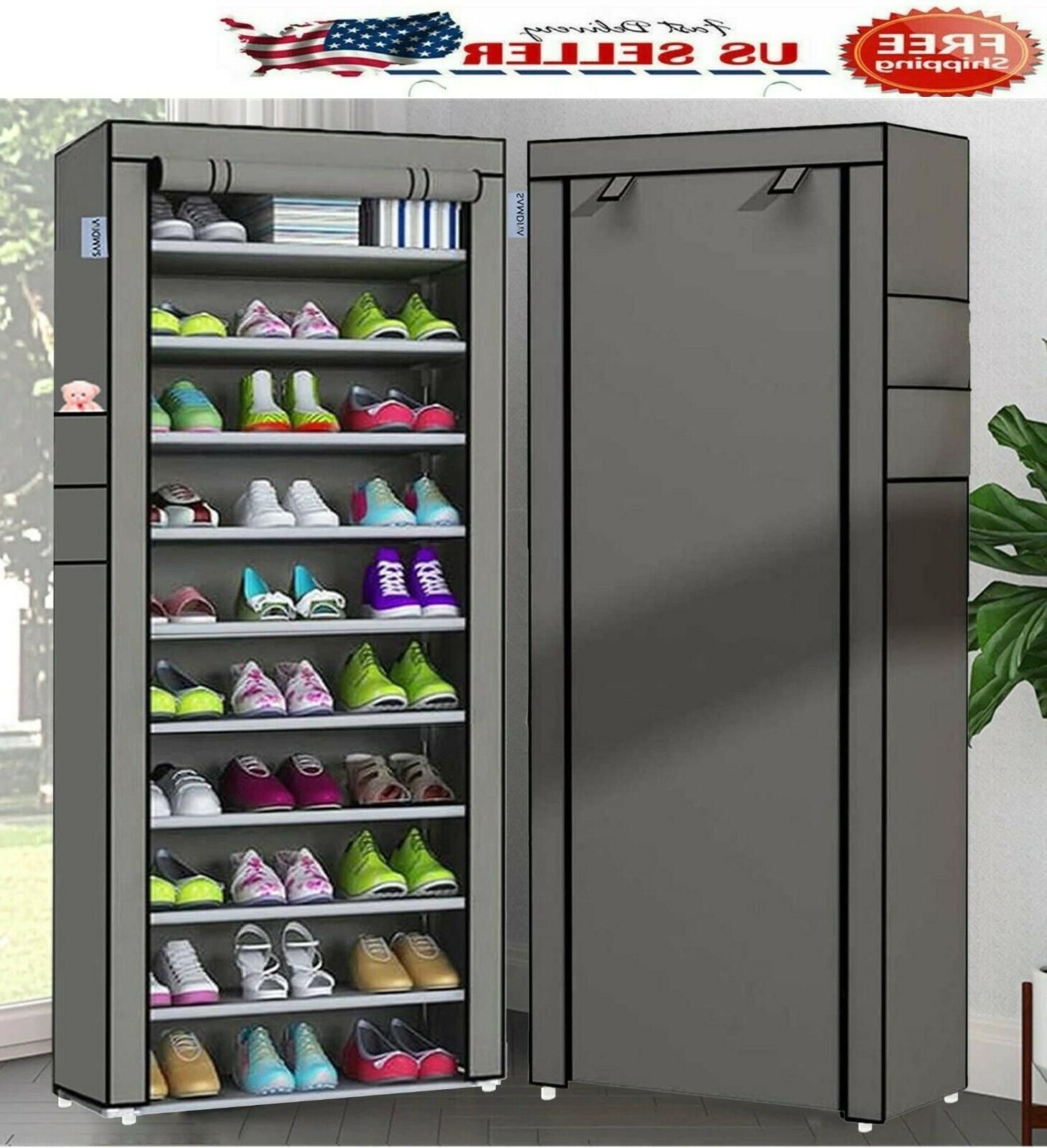 10 Tier Shoe Shoe Shelf Storage Closet Organizer Cabinet Cover Rack