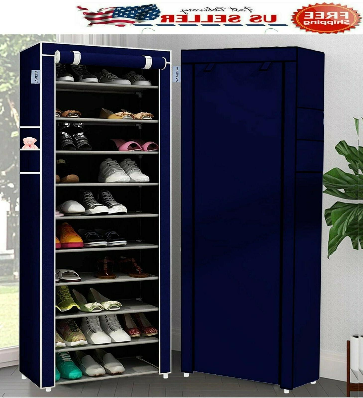 10 Tier Shoe Organizer Cabinet with Cover Rack