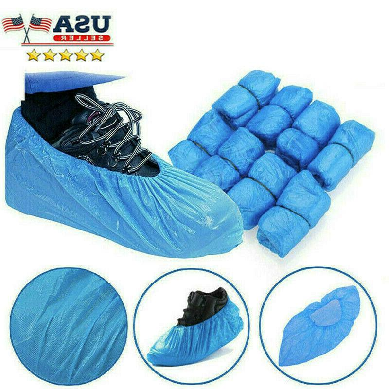 100Pcs Plastic Shoe Covers Cleaning Overshoes Protective Dustproof US