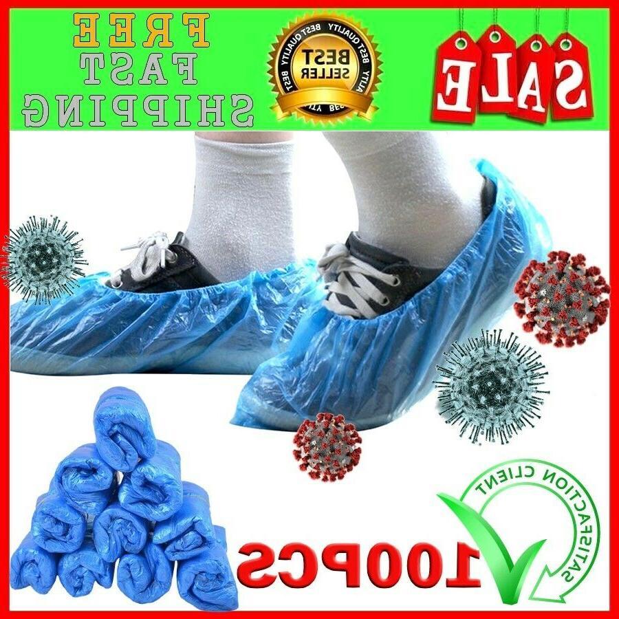 100pcs disposable plastic thick shoe cover blue