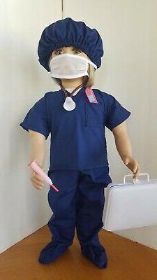 Choice of Blue DOCTOR or NURSE SCRUBS fits My Twinn + Cap, S