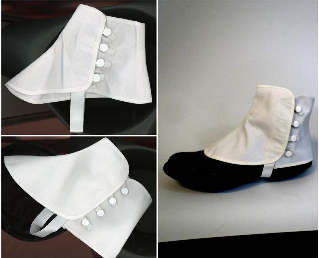 men women canvas spats white snaps shoe