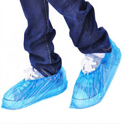 Plastic Disposable Shoe Overshoes Floor Boot Protector Cover Blue 50pcs