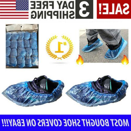 100x Waterproof Boot Shoe Covers Plastic Blue Overshoes Prot