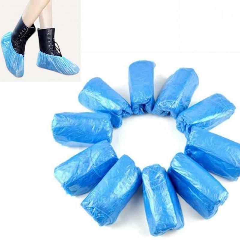 100/200/400 Plastic Shoe Covers Blue Boot Anti-slip
