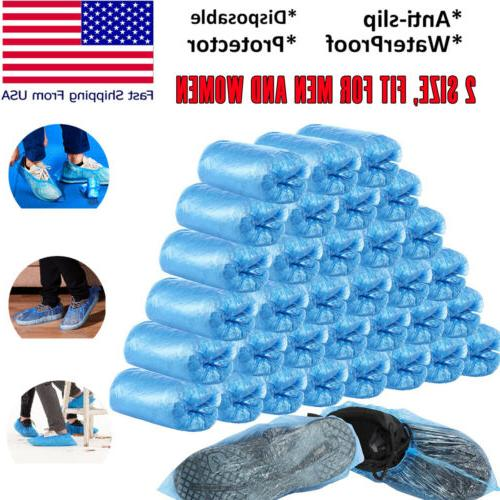 100-300 Disposable Shoe Covers Plastic Overshoes Blue Floor