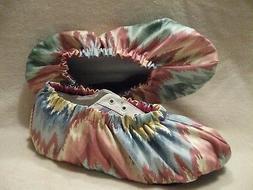 Ladies bowling shoe covers. pastel aztec design. Cotton, lin