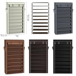 Large 10 Tier Free Standing Shoe Rack Cabinet 50 Pairs w/ Co