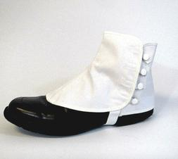 Men's Canvas Spats Parade Band Steampunk USA Made White Snap