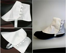Men Women Canvas Spats White Snaps Shoe Covers 2 Sizes S/M o