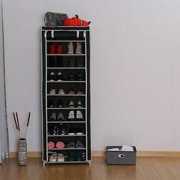 Portable 10 Tier Shoe Rack Shelf Storage Closet Organizer Ca