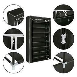 Portable 10 Tiers Shoe Rack Shelf Storage Closet Home Organi