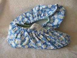 Pretty daisies. Ladies  bowling shoe covers. Cotton, lined,