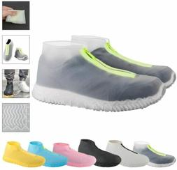 Reusable Silicone Waterproof Shoe Covers with Zipper No-Slip
