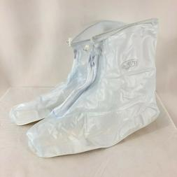 Unisex Shoe Covers Plastic Overshoes Clear White Zip Up Size