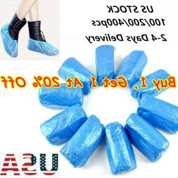 US 100/200/400 PCS Plastic Waterproof Shoe Covers Blue Overs
